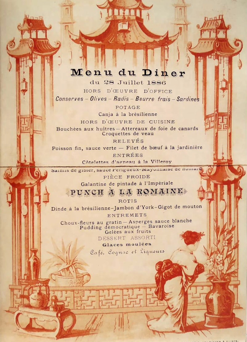 Potage: Canja à la brésilienne. Menu de 1886 da coleção de D. Pedro II