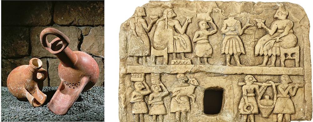 Jarras de cerveja antigas com filtro e bico, 800 aC. Fonte www.artstor.org | Placa Khafajah, da Mesopotâmia, que mostra casal em um banquete, servidos por serviçais que trazem jarro de cerveja, um animal para ser abatido e outros alimentos, 2600-2700 a.C. Fonte: Universidade de Chicago