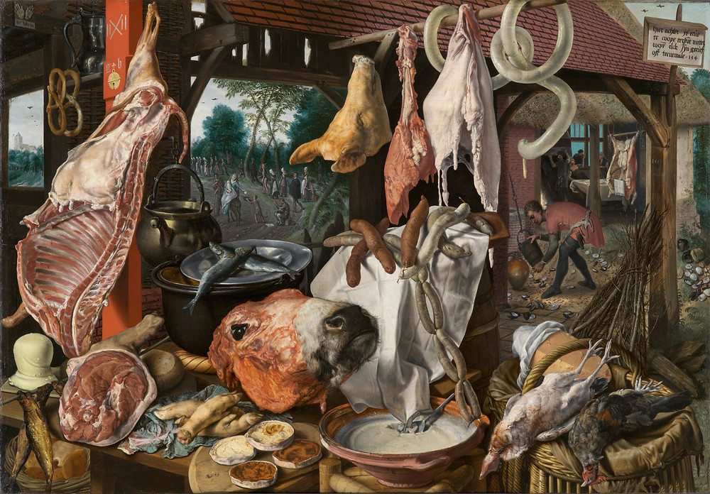 A Meat Stall with the Holy Family Giving Alms. Pieter Aertsen, 1551.