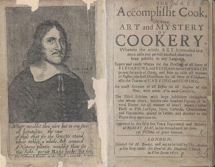 """Livro """"The Accomplisht Cook"""" de 1660 do banqueteiro Robert May"""