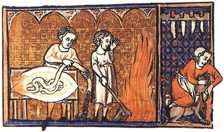 Ilustração da produção de salsichas. Século XIV, Bélgica.