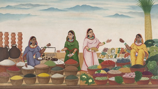 Cena de mercado em Patna, Índia. Pintura indiana, autor desconhecido,  c. 1800. Victoria and Albert Museum, Londres.
