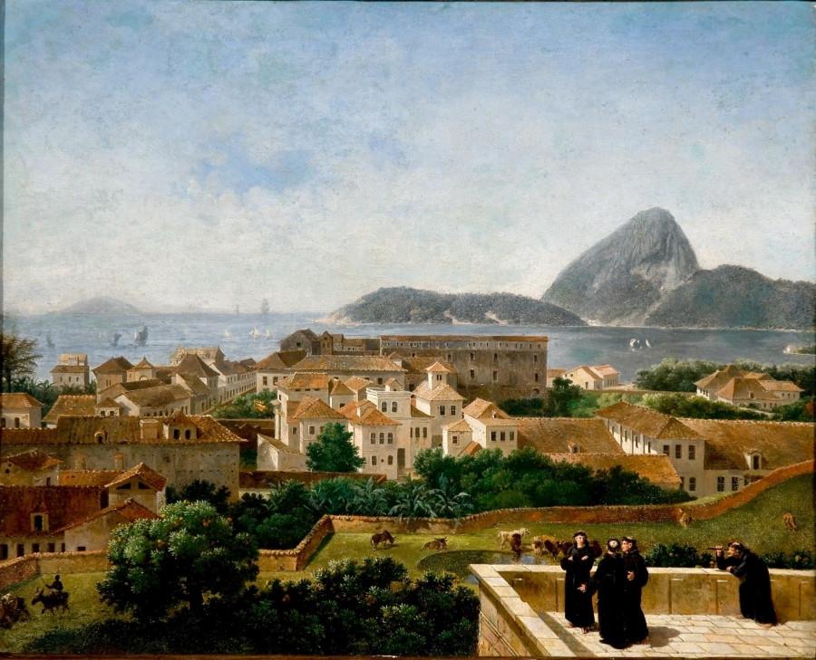 Entrada da baía e da cidade do Rio de Janeiro a partir do terraço do convento de Santo Antônio, Nicolas Antoine Taunay, 1816.