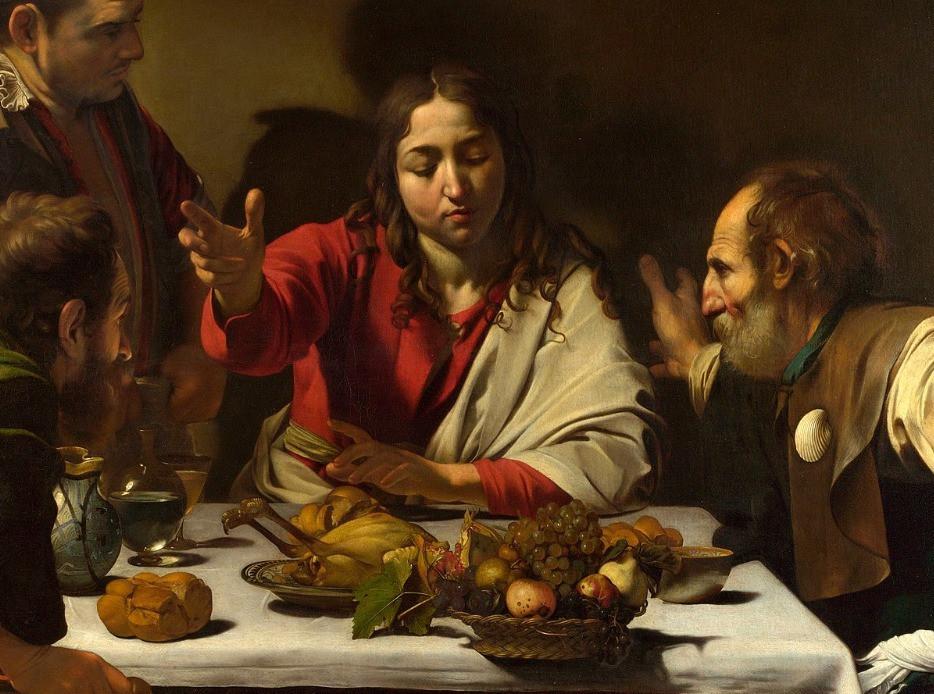 A Ceia em Emaús. Caravaggio, 1601.