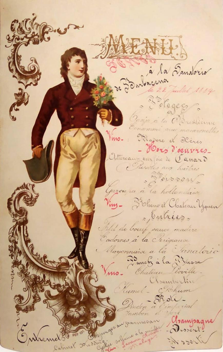 Canja à la brésilienne em um menu de 22 de Julho 1889 da coleção de D. Pedro II