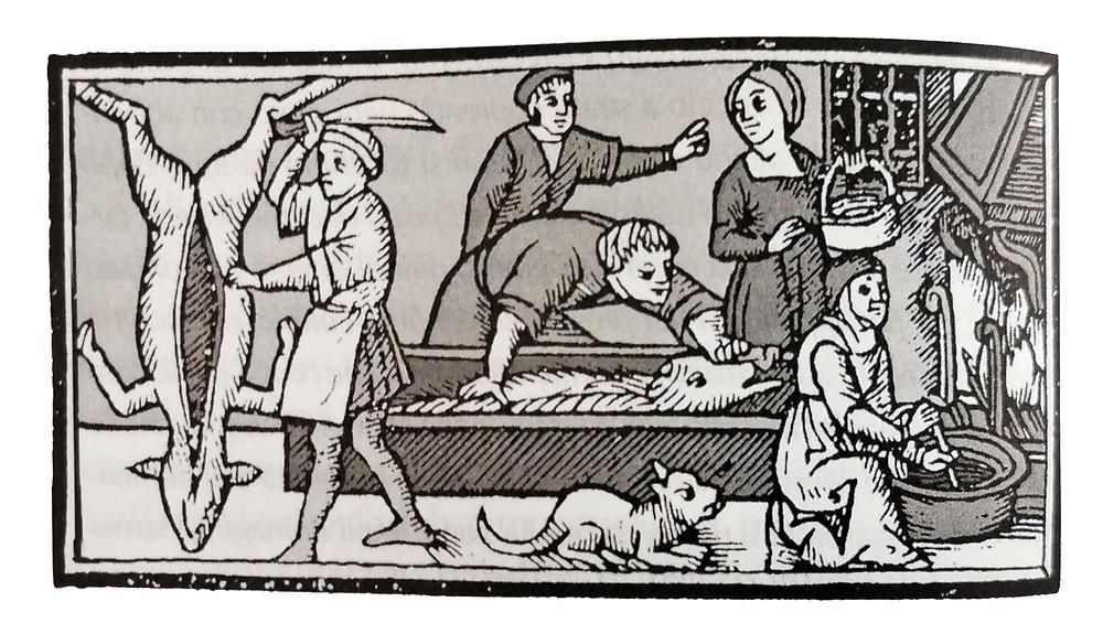 O processamento do porco em uma gravura do século XVII.