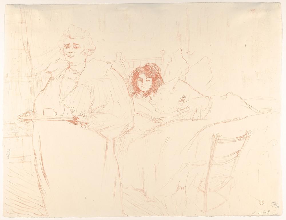 Servindo café da manhã (Madame Baron e Mademoiselle Popo). Henri de Toulouse-Lautrec, 1896.