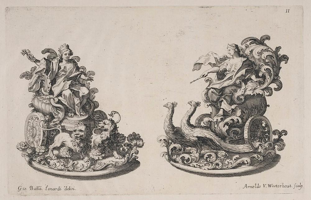 Trionfi di zucchero, representando Cibele e Juno, personagens mitologicos, por Giovanni Battista Lenardi e Arnold van Westerhout para um banquete em Roma, em 1687.