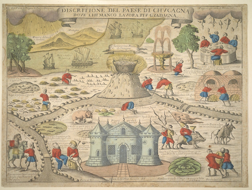 """""""Descrição do Pais da Cocanha onde quem menos trabalha mais ganha"""". Gravura final século XVI."""