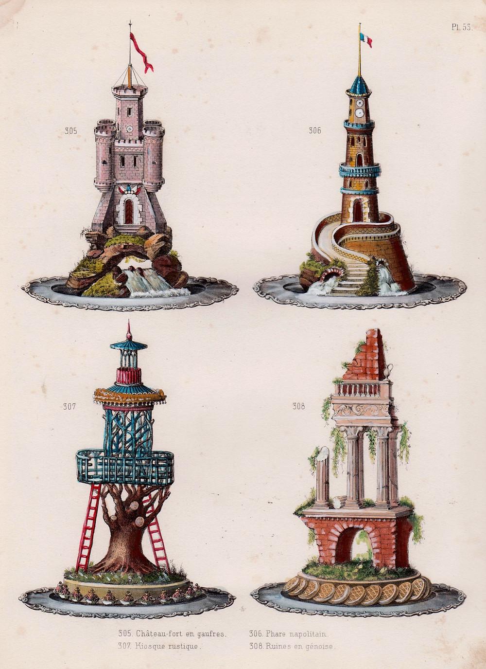 Ilustrações de bolos do livro Cuisine Artistique de Urbain Dubois, 1872.