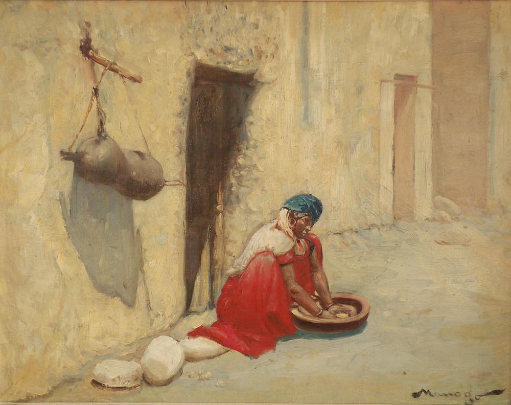 Vincent Manago (1880-1936). Femme préparant le couscous, Argélia.