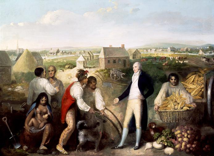 O milho nas Américas: Benjamin Hawkins, em sua plantação, ensina as pessoas de Creek a usar a tecnologia européia, 1805