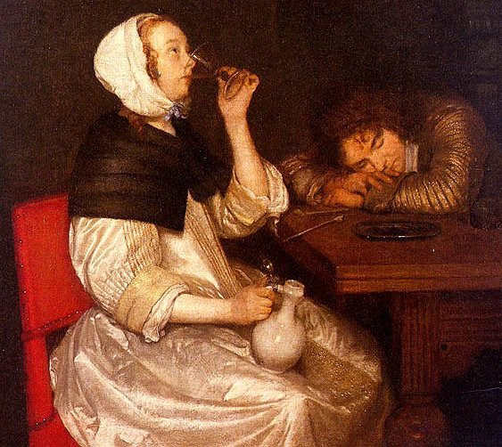 Gerard Ter Borch. Woman Drinking with Sleeping Soldier, 1660