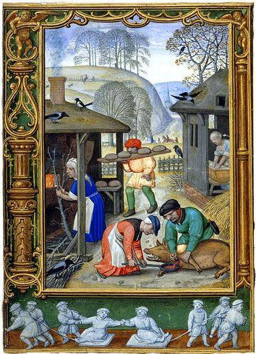 Os Trabalhos do Mês (The Labours of the Months), cena de dezembro. The Golf Book. Bruges, Bélgica, 1520-1530.