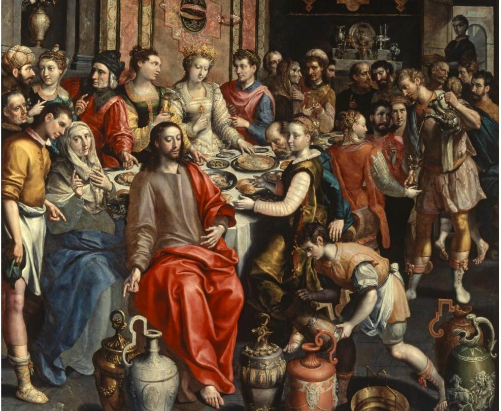 O casamento em Caná. Marten De Vos, 1596-1597