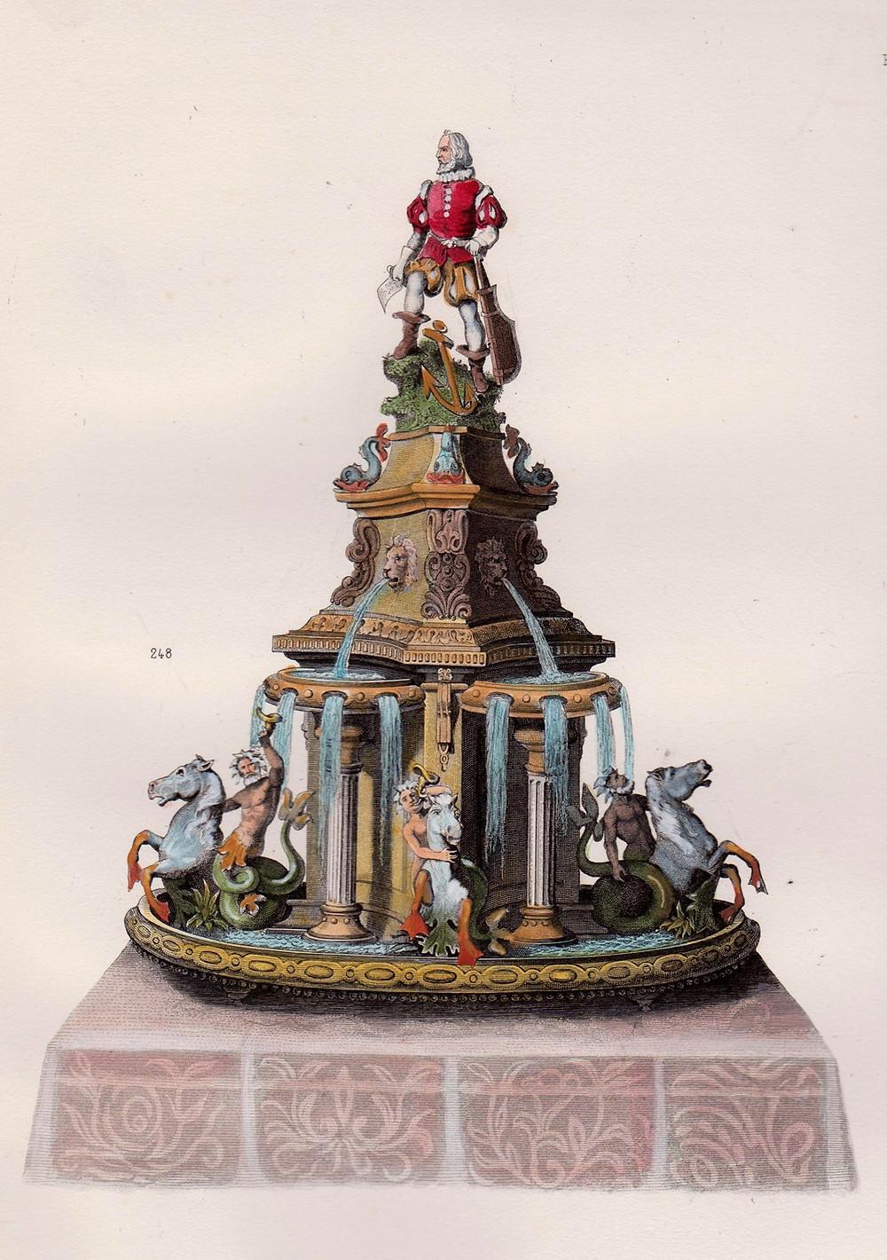 Pièce montée, peça decorativa de confeitaria usada em banquetes reais. Ilustração do livro Cuisine Artistique de Urbain Dubois, 1872.