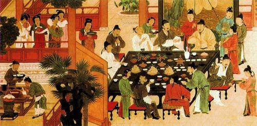Detalhe da pintura de um Banquete de Chá no Festival de Qingming. Dinastia Tang 618-907
