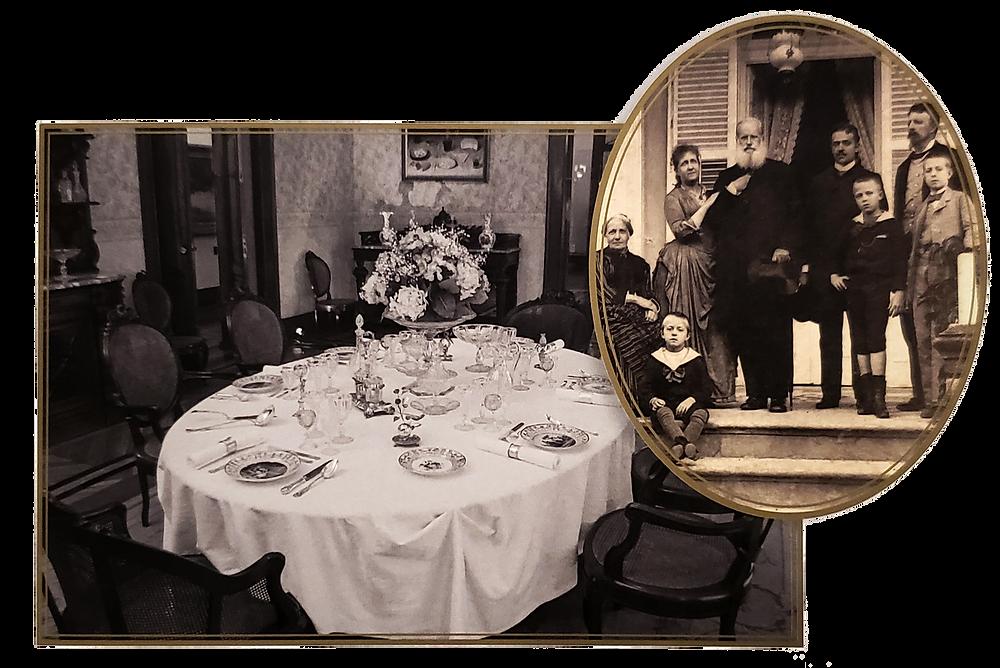 A sala de jantar da Quinta da Boa Vista e a família real reunida em 1889
