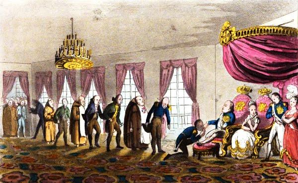 Ilustração de Dom João VI no Palácio de São Cristóvão