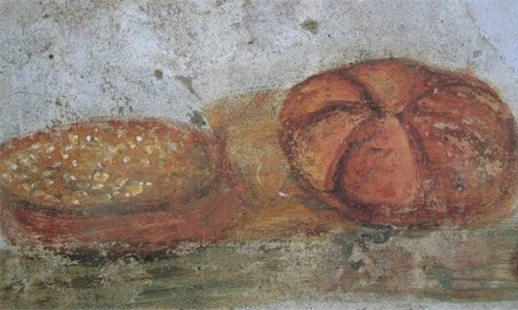 Pão e (provavelmente) Sopa, afresco de Pompéia.