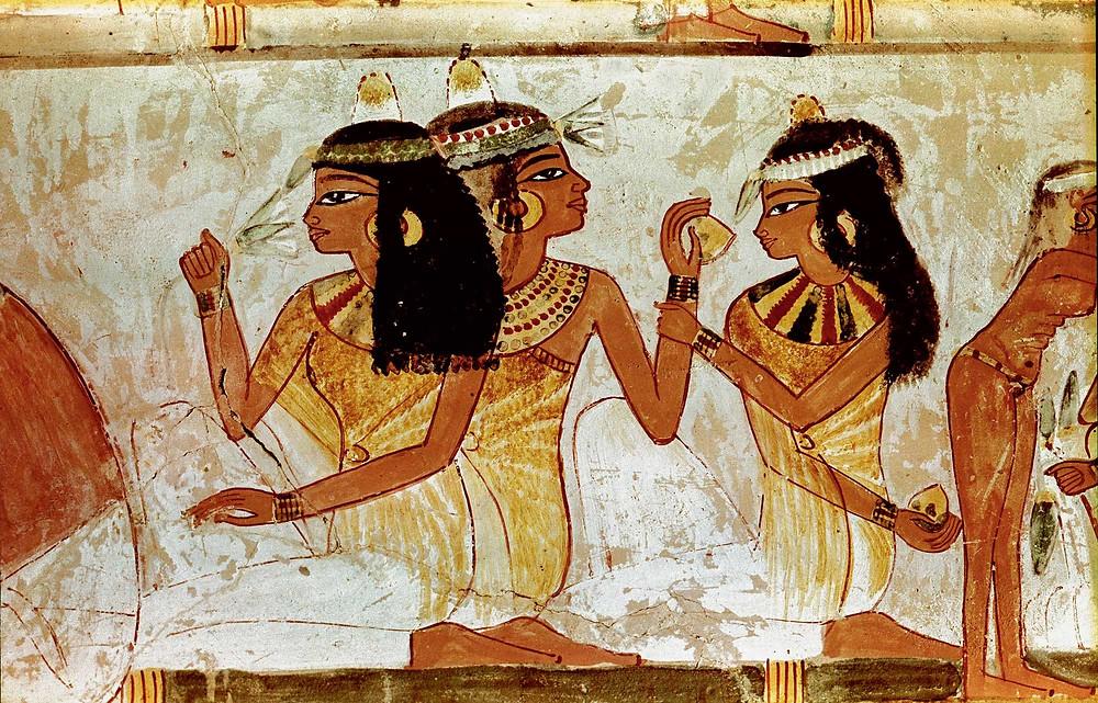 Três mulheres em um banquete. Túmulo de Nakht, Tebas. Dinastia XVIII.