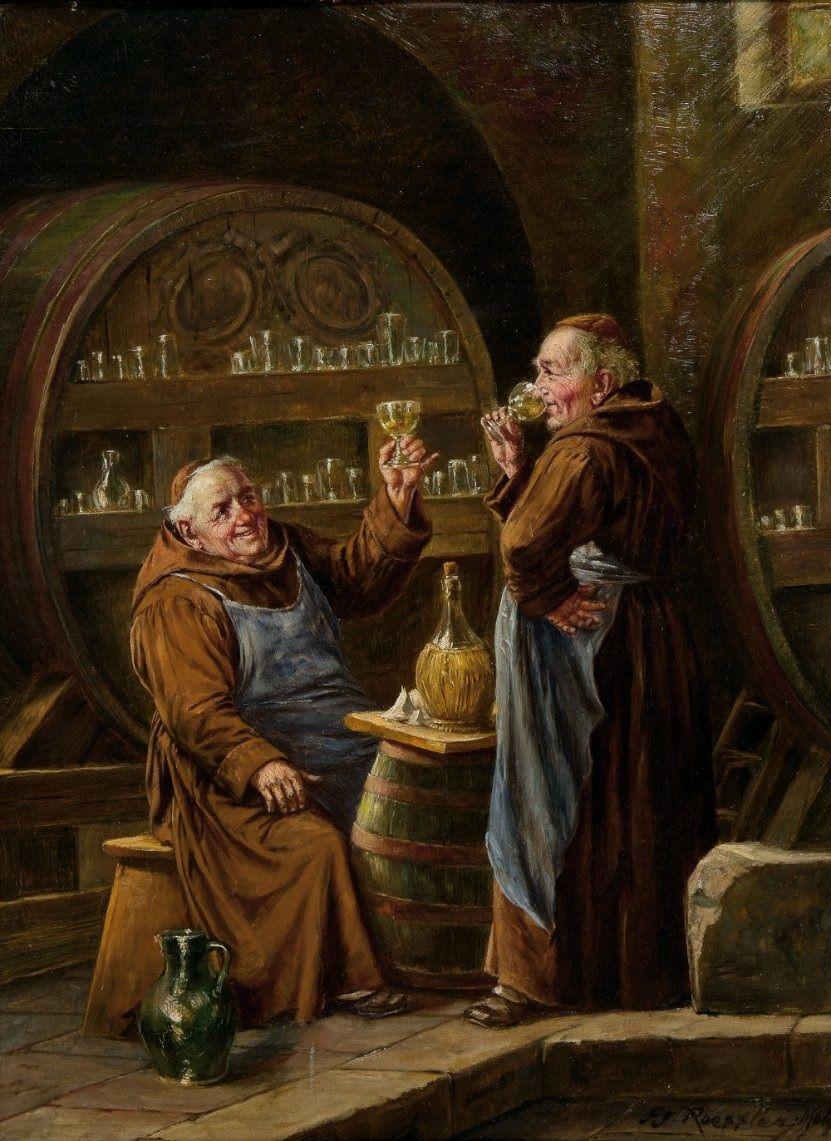 Monges bebendo cerveja. George Roessler (1861 - 1925)