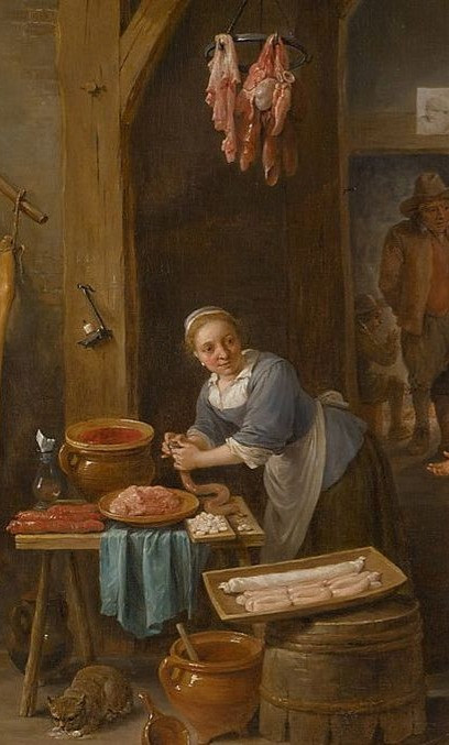 Detalhe de Sausage Making. David Teniers, 1651.