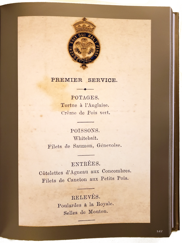 Cardápio do jantar oferecido em Marlborough House pelo Principe de Gales, em Londres, 19 de junho de 1877