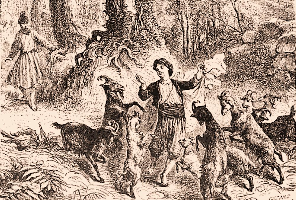 """Kaldi dançando com suas cabras, """"All About Coffee"""" de William H. Ukers, 1922."""