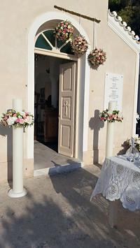 Λαμπάδες γάμου με ορτανσίες και τριαντάφυλλα
