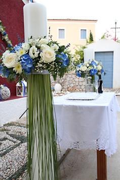 Λαμπάδες γάμου σε μπλε - λευκό