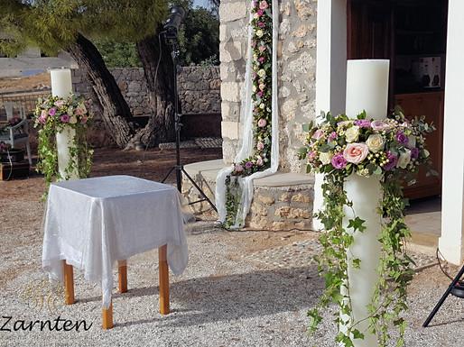 Λαμπάδες γάμου με τριαντάφυλλα, υπέρικουμ και κισσό