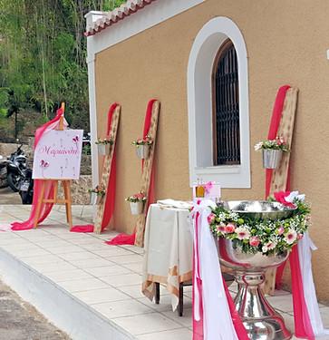 Διακόσμηση βάπτισης σε λευκό - ροζ - φούξια