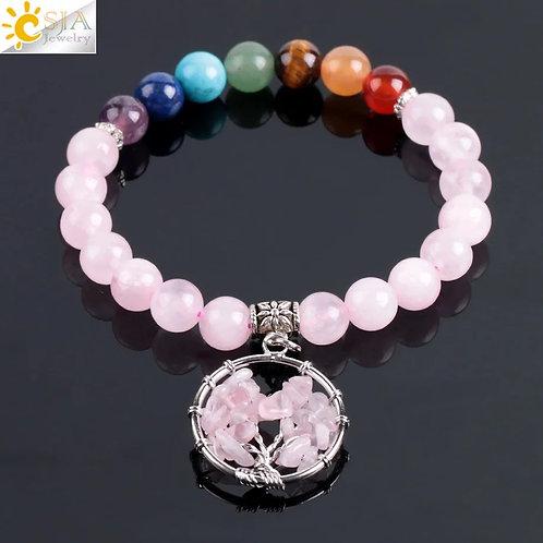 Bracelet quartz rose chakra avec arbre de vie