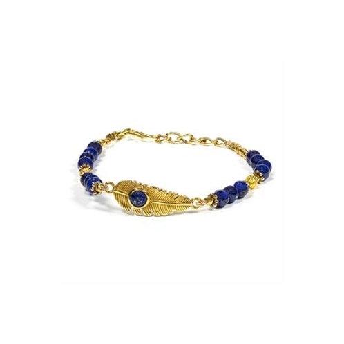 Bracelet plume lapis lazuli