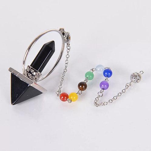 Pendule prisme pyramide en obsidienne