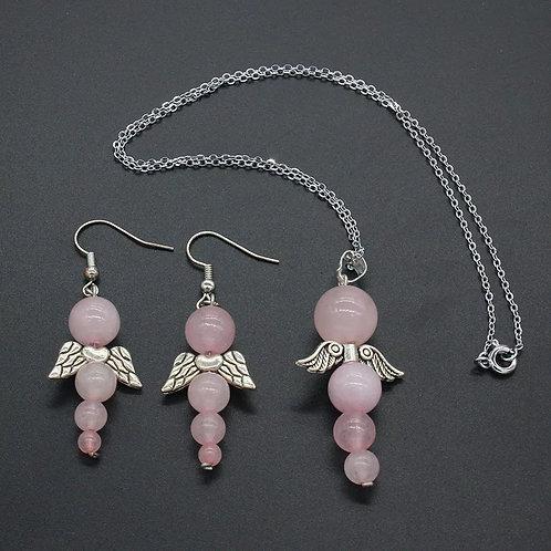 Parure ange quartz rose