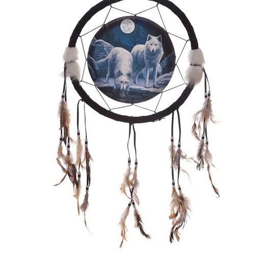 Attrape rêve loup au clair de lune