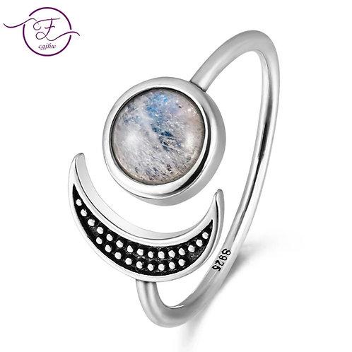 Bague lunaire avec pierre de lune