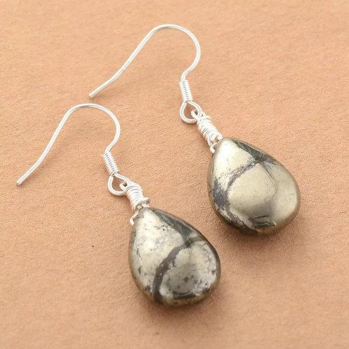 Boucle d'oreille en pyrite
