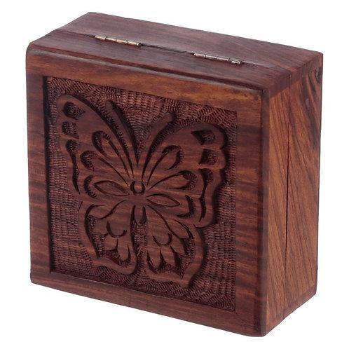 Boîte en bois papillon