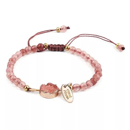 Bracelet en quartz rose réglable