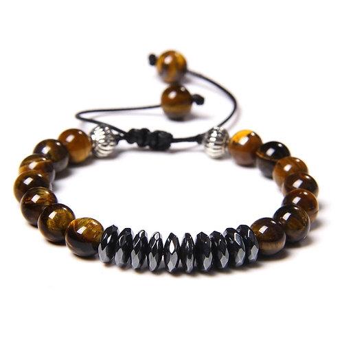 Bracelet oeil de tigre et hématite réglable en corde de coton