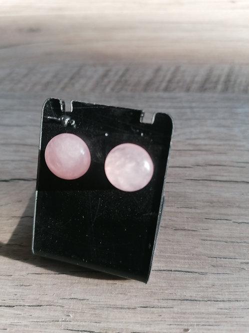 Boucle d'oreille puce quartz rose