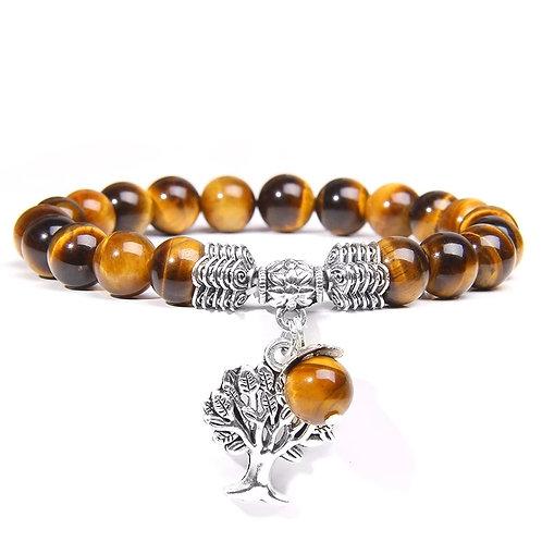Bracelet œil de tigre arbre de vie