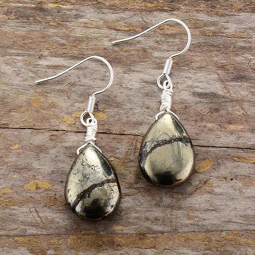 Boucle d'oreille goutte en pyrite