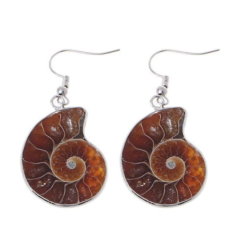 Boucle d'oreille ammonite