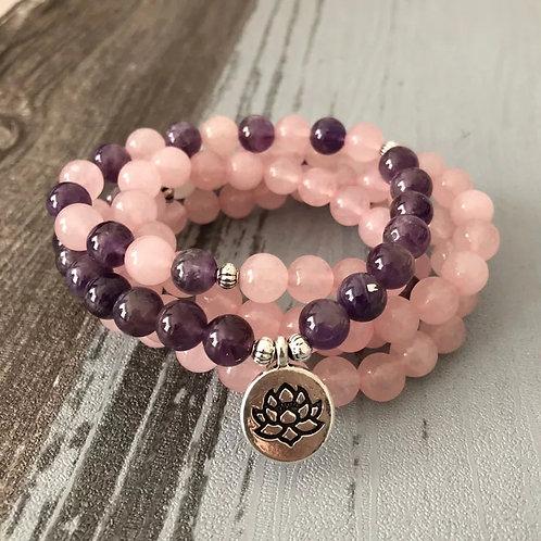 Bracelet mala améthyste et quartz rose