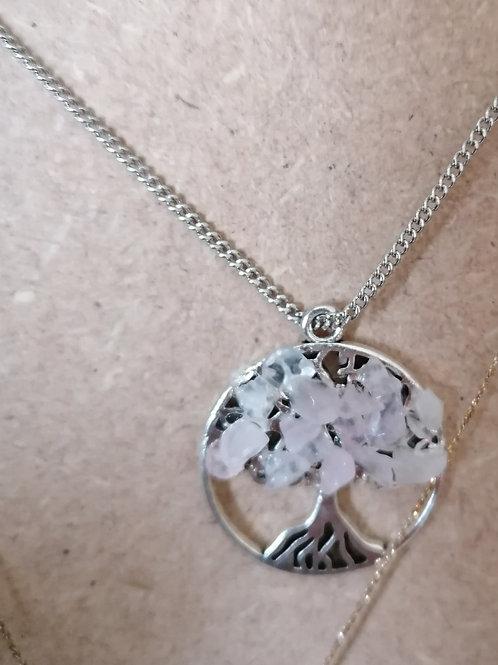 Collier arbre de vie quartz rose