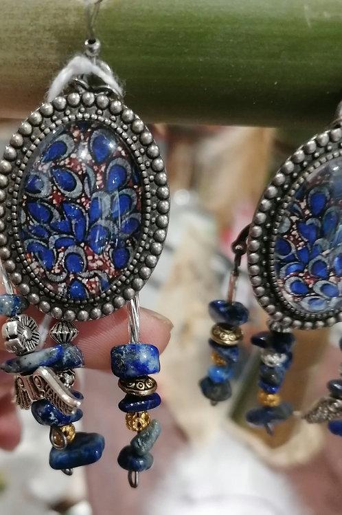 Boucle d'oreille fait main en lapis lazuli